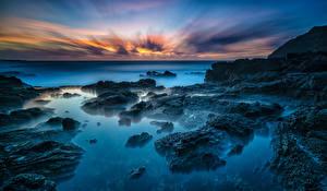 Фотография Тропики Берег Рассветы и закаты Гавайи Oahu