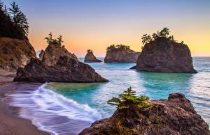 Фотография Штаты Побережье Волны Скала Oregon