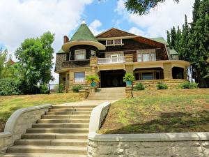 Обои США Здания Лос-Анджелес Калифорния Особняк Дизайн Лестница