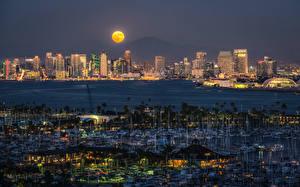 Фото США Дома Реки Пирсы Парусные Яхта Сан-Диего Ночью Луны
