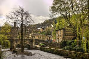 Фотографии Великобритания Дома Мосты Реки Деревья Hepden Bridge Yorkshire Города