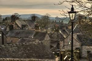 Обои Великобритания Дома HDR Крыша Уличные фонари Hartington Derbyshire Города