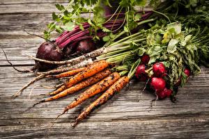 Картинки Овощи Редис Морковь Доски Почва Еда