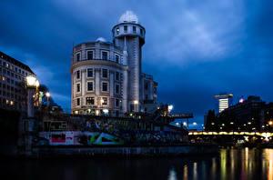 Фотографии Вена Австрия Дома Речка Ночные Уличные фонари Города