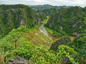 Обои Вьетнам Реки Утес Каньон Ninh Binh Природа
