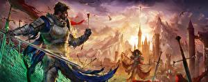 Картинки Воины Лучники Мужчины Фантастический мир Броня Стрела Девушки