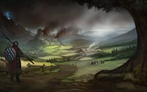 Фотография Воины Фантастический мир Луга Щит Копья