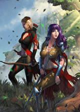 Обои Воины Иллюстрации к книгам Лучники Двое Destiny Reforged Фантастика Девушки