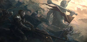 Фотографии Воины Рыцарь Броня Копья Фэнтези