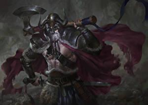 Обои Воин Мужчина С топором Викинги Фэнтези