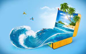 Фотографии Волны Тропики Дельфины Цветной фон Чемодан Пальмы 3D Графика