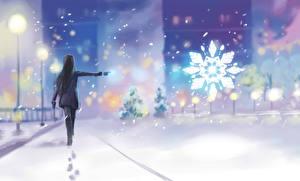 Фотография Зимние Рисованные Снег Снежинки Улица Девушки
