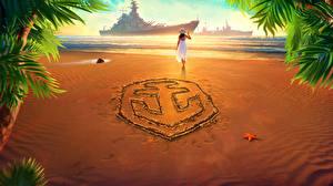Фотография World Of Warship Корабли Логотип эмблема Пляж Игры Девушки