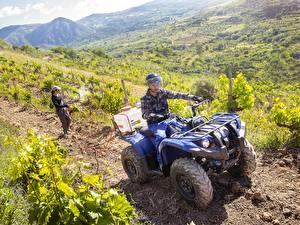 Обои ATV Поля Мужчины 2015-17 Yamaha Grizzly 450 EPS