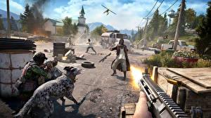 Обои Автоматы Мужчины Far Cry 5 Выстрел Улица Игры
