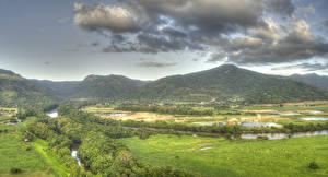 Фотография Австралия Пейзаж Речка Луга Леса HDRI Холмы Облака Barron Queensland