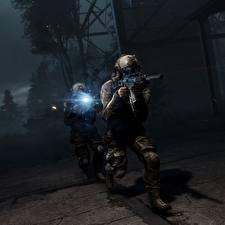 Картинка Battlefield 4 Солдаты Автоматы Американские Ночные 2 Игры 3D_Графика