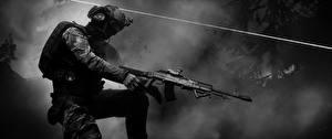 Фотография Battlefield 4 Солдаты Автоматы Черно белое Американские Игры 3D_Графика