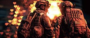 Фотографии Battlefield 4 Солдаты Сзади Двое Американские 3D_Графика