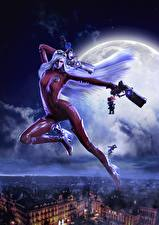 Фото Bayonetta Пистолеты Ночь Луна Латекс Jeanne, Bayonetta, Umbra Witch Игры Девушки Фэнтези