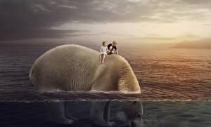 Фото Медведи Полярный Вода Фантастика Животные Дети