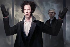 Фотографии Камбербэтч Бенедикт Мужчины Рисованные Шерлок Холмс 2 Holmes and Watson, Martin Freeman Кино Знаменитости