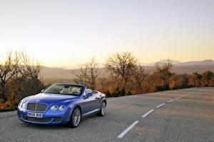 Обои Bentley Дороги Кабриолет Металлик Синий 2009-16 Continental GTC Speed Машины