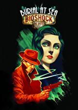 Картинки BioShock Infinite Мужчины Пистолеты Черный фон Взгляд Elizabeth