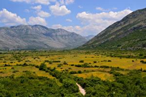 Фотография Босния и Герцеговина Пейзаж Горы Луга Ravno Природа