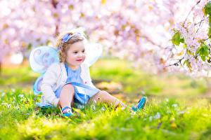 Фотографии Бабочки Весна Феи Девочки Сидит Ребёнок