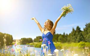 Картинка Ромашки Блондинка Платье Руки Счастливые Девушки