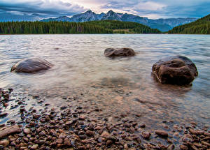 Фотография Канада Парки Пейзаж Берег Озеро Камень Банф