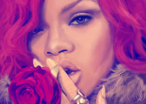 Картинка Вблизи Rihanna Рисованные Лицо Негр Взгляд Нос Музыка Знаменитости Девушки