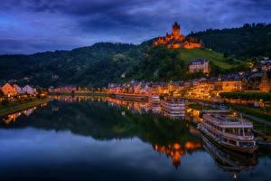 Картинка Кохем Германия Реки Дома Замки Пристань Корабли Ночь Empire Castle