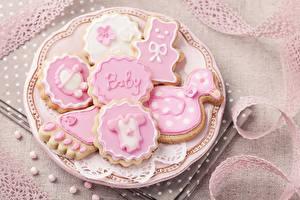 Картинка Печенье Сахарная глазурь Тарелка