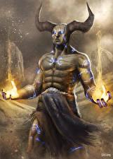 Обои Демоны Волшебство Рога Firehands