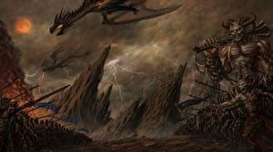 Картинка Демоны Воины Драконы Фантастика