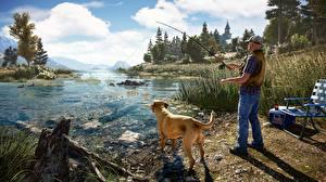 Картинки Собаки Мужчины Ловля рыбы Речка Far Cry 5 Игры