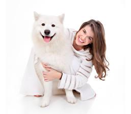 Фотография Собаки Белый фон Шатенка Улыбка Хаски Девушки