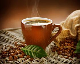 Фотография Напитки Кофе Чашка Зерна Листва Пар Пища