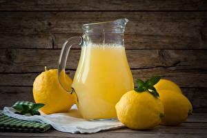 Фотография Напитки Лимоны Лимонад Доски Кувшины