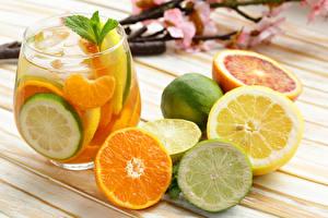 Фото Напитки Лимоны Апельсин Стакан Продукты питания