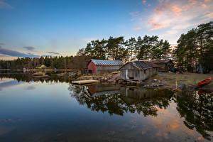 Фотография Финляндия Побережье Пристань Вечер Mussalo Kotka Природа