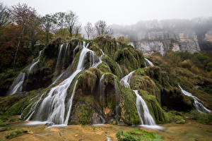 Картинка Франция Водопады Мох Утес Cascade des Tufs