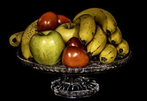 Фотографии Фрукты Бананы Яблоки Сливы Черный фон