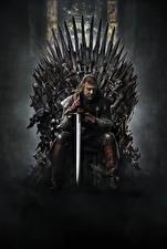 Картинка Игра престолов (телесериал) Мужчины Мечи Трон Сидящие Фильмы Знаменитости