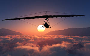 Обои Летящий Облака Солнце Hang gliding Спорт