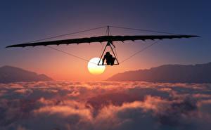 Обои Летящий Облако Солнце Hang gliding Спорт