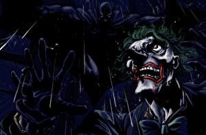Фотографии Герои комиксов Бэтмен герой Джокер Ночные