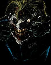 Картинки Герои комиксов Джокер Лицо Зубы Черный фон Уродливые Фантастика